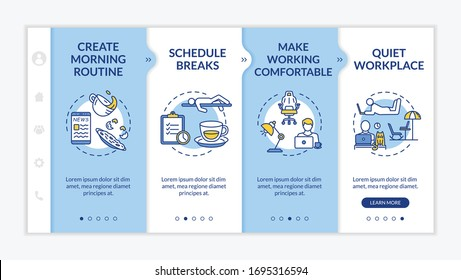 Work at home rules onboarding vector template. Morning routine, breaks, comfortable and quiet workplace. Responsive mobile website with icons. Webpage walkthrough step screens. RGB color concept