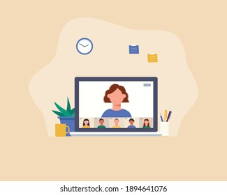 Work from home, video conference, online meeting, video call. Workplace, laptop screen, diverse colleagues or friends talking via internet. Stream, web chatting concept .Vector illustration