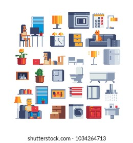Work at home, working woman character, unemployed lazy man, cozy interior of an office apartment pixel art set icons bathroom furniture for house isolated vector illustration, game assets 8-bit sprite