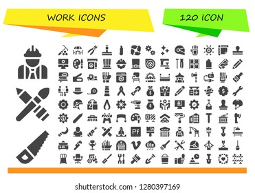work icon set. 120 filled work icons. Simple modern icons about  - Worker, Saw, Brush, Rake, Chairs, Pliers, Glass cleaner, Cutter, Teamwork, Cogwheel, Clean, Helmet, Glove, Settings