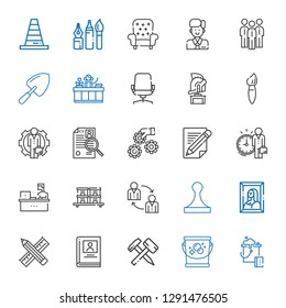 work icons set. Collection of work with bucket, hammer, biography, pencil, painting, stamp, teamwork, stock, working, employee, settings, curriculum. Editable and scalable work icons.