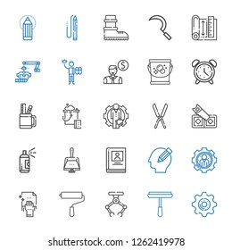 work icons set. Collection of work with settings, window cleaner, industrial robot, paint roller, cleaning, pencil, biography, dustpan, paint. Editable and scalable work icons.