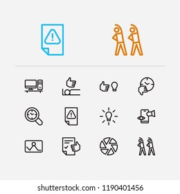 Work icons set. Exercise and work icons with inspiriting idea, urgent task and drop in productivity. Set of person for web app logo UI design.