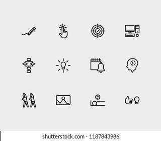 Work icons set. Exercise and work icons with work smarter, result oriented and start from scratch. Set of algorithm for web app logo UI design.