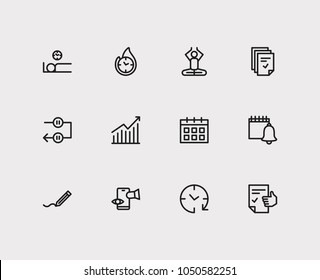 Work icons set. Mediate and work icons with wake up earlier, efficiency and tasks. Set of elements including person for web app logo UI design.