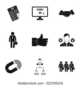 Work icons set. Simple illustration of 9 work vector icons for web