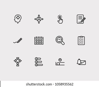 Work icons set. To-do list and work icons with wake up earlier, calendar and priorities. Set of elements including analysis for web app logo UI design.