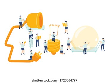 Work idea employee teamwork management, Miniature assembly team staff people make light bulb Business metaphor concept Poster or social banner design Vector illustration isolated on white background