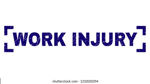WORK INJURY caption seal stamp with grunge texture. Text caption is placed between corners. Blue vector rubber print of WORK INJURY with grunge texture.
