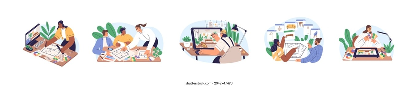 Work of interior designer set. Concept of working under house design project with software. Professionals meet and discuss it with clients. Colored flat graphic vector illustration isolated on white