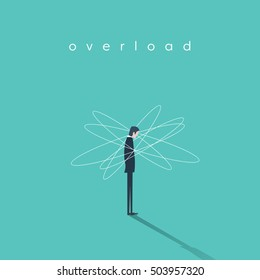 Work or job overload and stress vector concept with businessman symbol. Frustration and depression sign. Eps10 vector illustration.