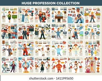 Work and job profession collection career vector teacher and designer stylist and writer desinsector and engineer seller and airplane board crew police officer and programmer electrician and spaceman