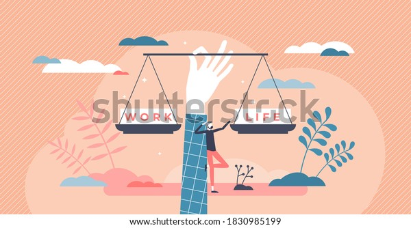 Work life balance as career or family relationship scales tiny person concept. Choose between passion, love versus job, money and professional management vector illustration. Comparison of time spent.