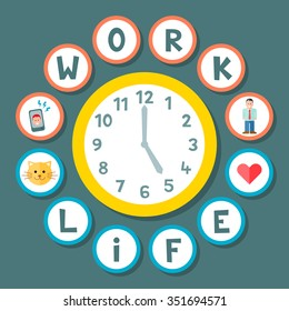 Work Life Balance Concept During a Working Day. EPS8 Vector