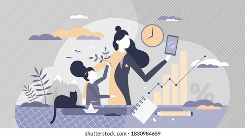 Work life balance for female as children or career choice tiny person concept. Mother with kids and phone call from job vector illustration. Time and priorities management daily decision routine scene