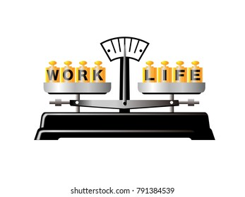 Work life balance. Image of balanced situation between work and life.