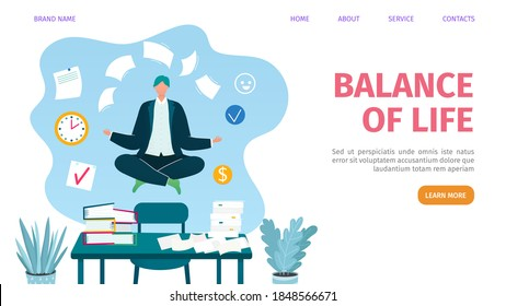 Work and life balance web landing page, vector illustration. Businessman balancing with documents in office, relax lifestyle. Balanced work management webpage template. Multitasking.