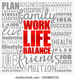 Work Life Balance word cloud collage , concept background