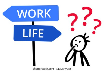 WORK or LIFE, which way to go? Stick figure pondering decision, choice, balancing, direction sign, career or spare time isolated on white background