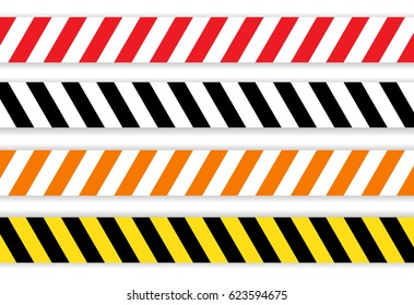 Work Line, Under Construction Site  tapes collection, vector illustration