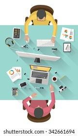 work meeting - flat design - Coworkers
