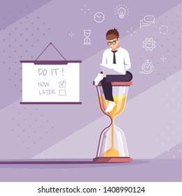 Work motivation flat vector illustration. Time management, respect deadlines. Do it now. Programmer, designer cartoon character. Young man sitting on hourglass. Workflow organization concept