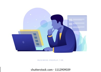 Сoncept of work in office. Businessman carefully looks at screen and analyzes data on an open laptop. Work in overtime. Modern flat style vector illustration.