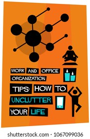 Work and Office Organization tips: How to Unclutter Your Life Retro Poster Design Template