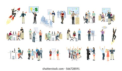 Work in office set on white background. meeting, presentations and winning. Abstract illustartions. Flying on rocket. - Shutterstock ID 566728591