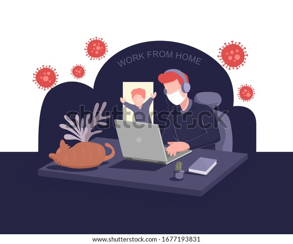 work online from home with kid and pet during the coronavirus outbreak and social distancing alert. stay at home to avoid virus infection. businessman works remotely with wearing a medical face mask.