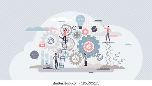 Work operations and teamwork productivity with control tiny person concept. Business project workflow as gear cogwheel mechanism vector illustration. Process automation with effective monitoring.