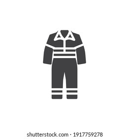 Work overalls vector icon. filled flat sign for mobile concept and web design. Safety coverall glyph icon. Symbol, logo illustration. Vector graphics