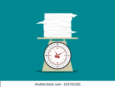 work overtime, work on day clock scales, pile of work, document paper above one day time scales, business balance concept, vector illustration
