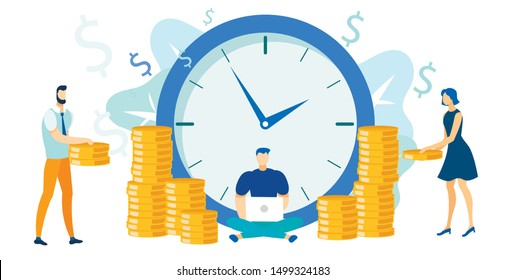 Work Payment, Salary Flat Vector Illustration. Freelancer and Investors Cartoon Characters. Man Sitting with Laptop, People Invest Money. E business, Internet Banking, Deposit System. Profit Growth