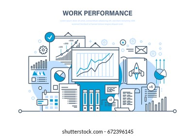 Work performance, quality control, productive, workplace, teamwork, performance evaluation, analysis of results, planning, start up, success business. Illustration thin line design of vector doodles.