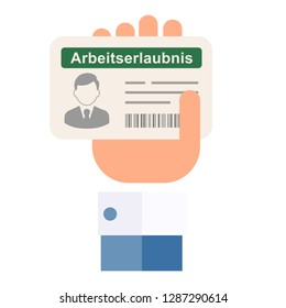 Work permit for foreigners (Germany). German language . Vector image, white background.