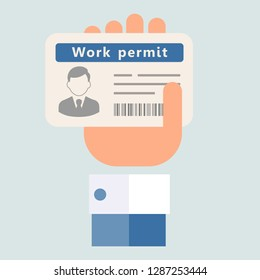 Work permit for foreigners. Vector image, uniform background.