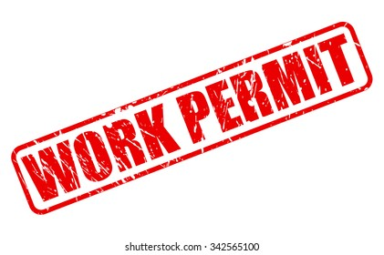 WORK PERMIT red stamp text on white