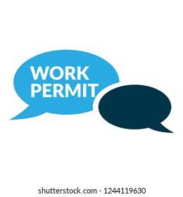 work permit sign,label. work permit speech bubble. work permit tag sign,banner