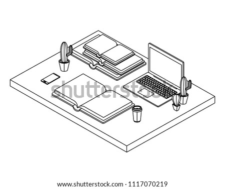 Work Place Scene Isometric Icons Stock Vector Royalty Free
