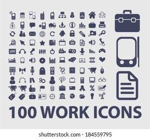 work, presentation, business icons, signs set for website, apps, internet design