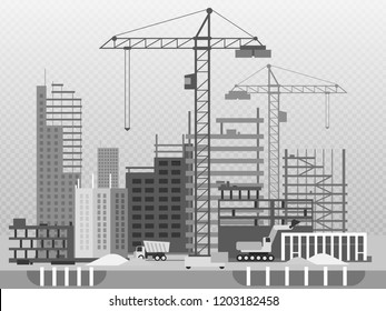 Work process of buildings construction and machinery isolated on transparent background. Building development and machine car illustration vector