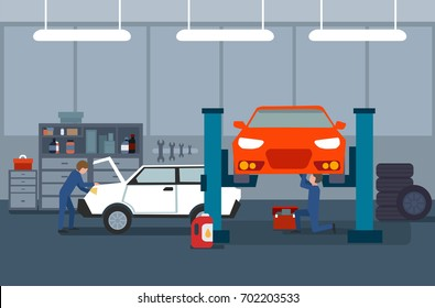 Work process in car and tire services. Automobile repair and mechanics vector illustration