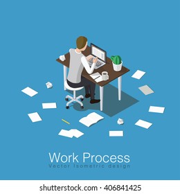 Work process concept isometric illustration. Office worker doing his job or student studying some subject. Sitting over the table with lots of papers all around. Stock vector.