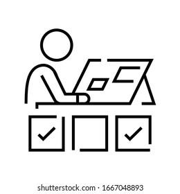Arbeitsprozess-Zeilensymbol, Concept-Zeichen, Umriss-Vektorillustration, Linearsymbol.