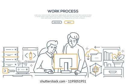 Work process - modern line design style banner on white background. High quality composition with two men, business colleagues discussing the project at the computer, one helping another