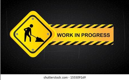 work in progress over black background  vector illustration