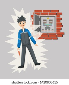 Work safety and accident. Industrial safety Vector cartoon. Electric shock