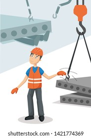 Work safety. Flat vector poster about work accident. Worker in uniform doesn't test slings on construction plant.