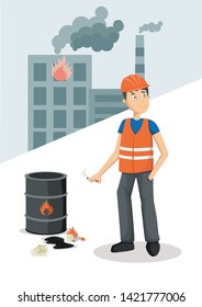 Work safety. Flat vector poster about work accident. Worker in uniform is throwing a cigarette near flammable barrel of oil.
